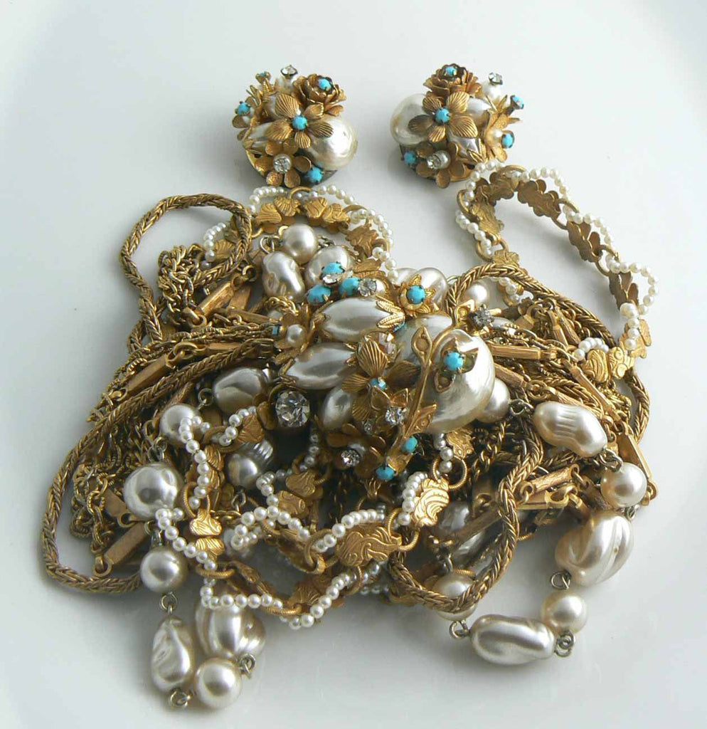 Early Miriam Haskell Gold Chain & Baroque Pearl Necklace Earring Set - Vintage Lane Jewelry