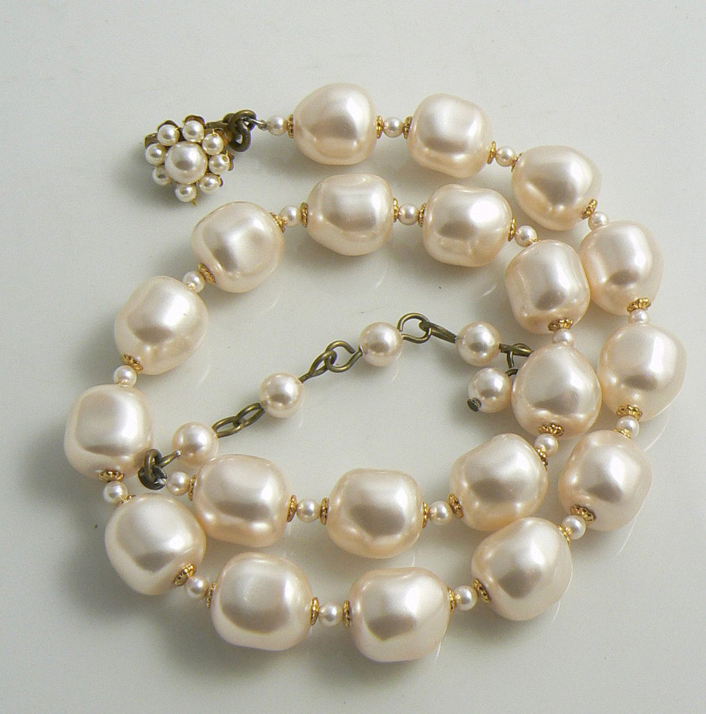 Miriam Haskell Signed Large Baroque Pearl Necklace - Vintage Lane Jewelry