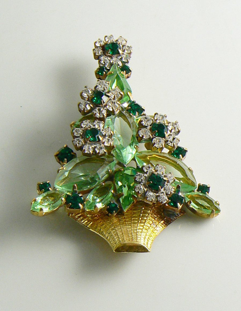 Czech Glass Christmas Flower Tree Pin, xmas pin. holiday brooch - Vintage Lane Jewelry