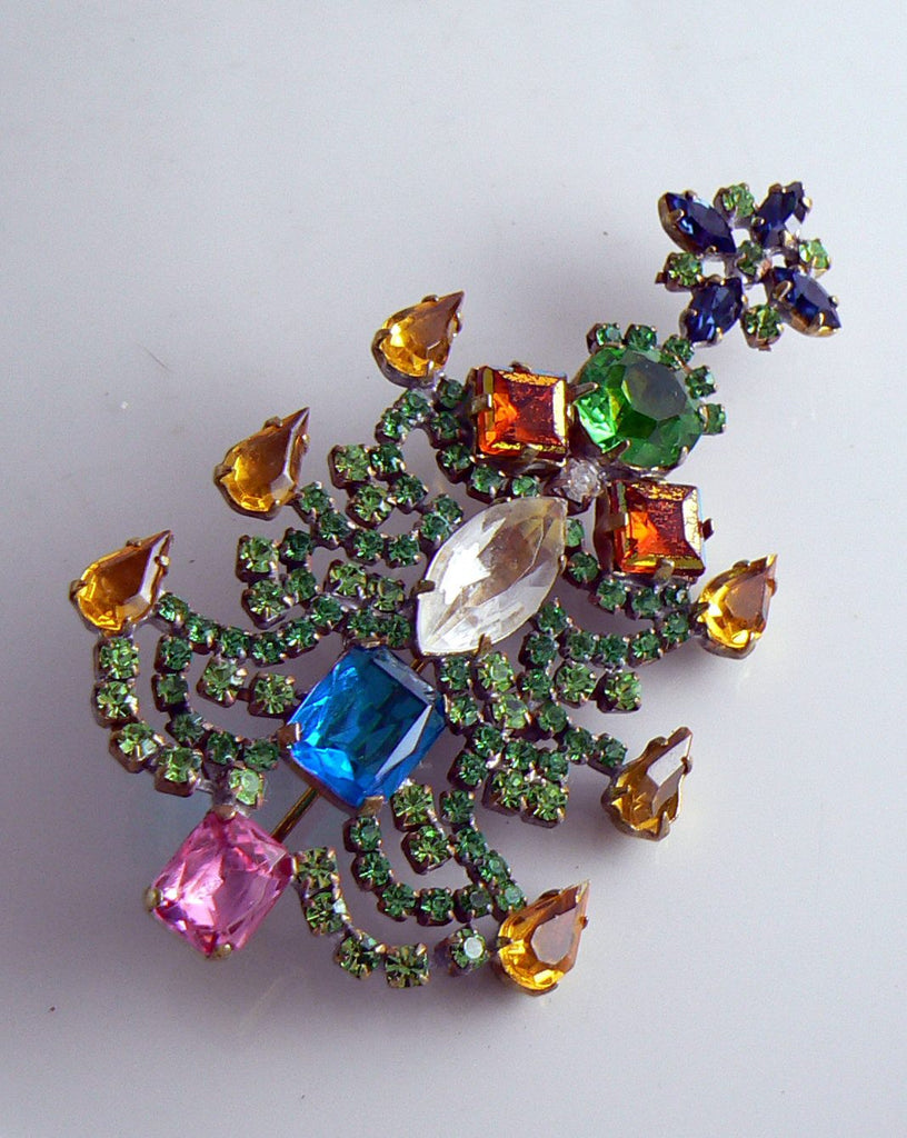 Czech Glass Christmas Tree, Bijoux M.G., Rhinestone X-mas Tree - Vintage Lane Jewelry