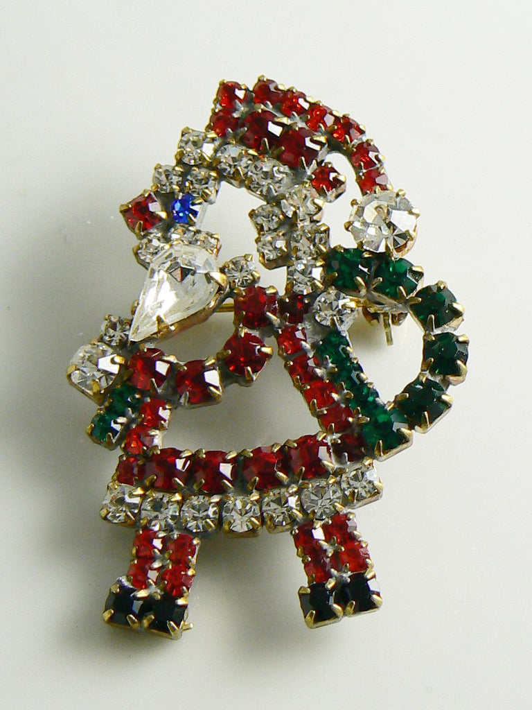 Czech Glass Rhinestone Santa Claus Brooch, xmas pin - Vintage Lane Jewelry