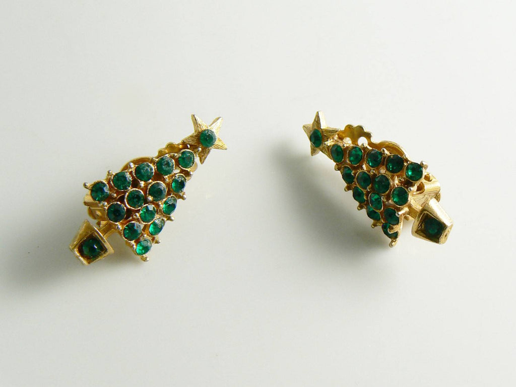 Christmas Tree Green Rhinestone Gold Tone Clip Earrings - Vintage Lane Jewelry