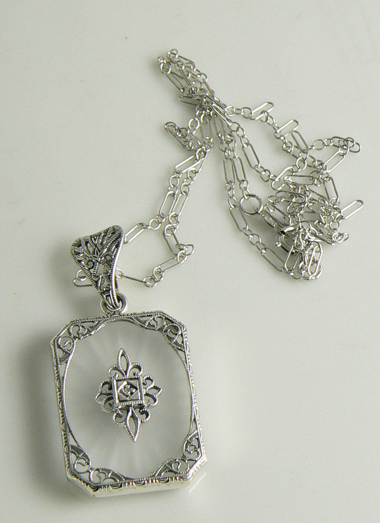 Art Deco Frosted Crystal Camphor Glass Filigree Diamond Pendant Sterling Silver - Vintage Lane Jewelry