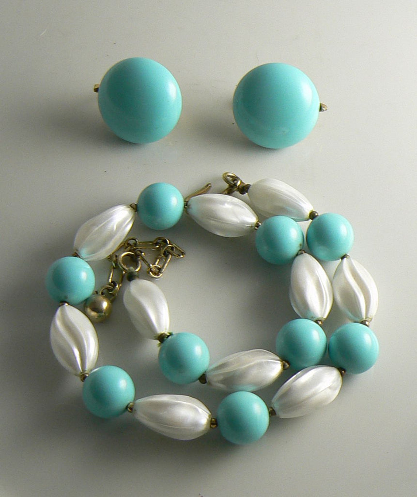 Vintage Crown Trifari Turquoise and White Bead Necklace Earring Set - Vintage Lane Jewelry