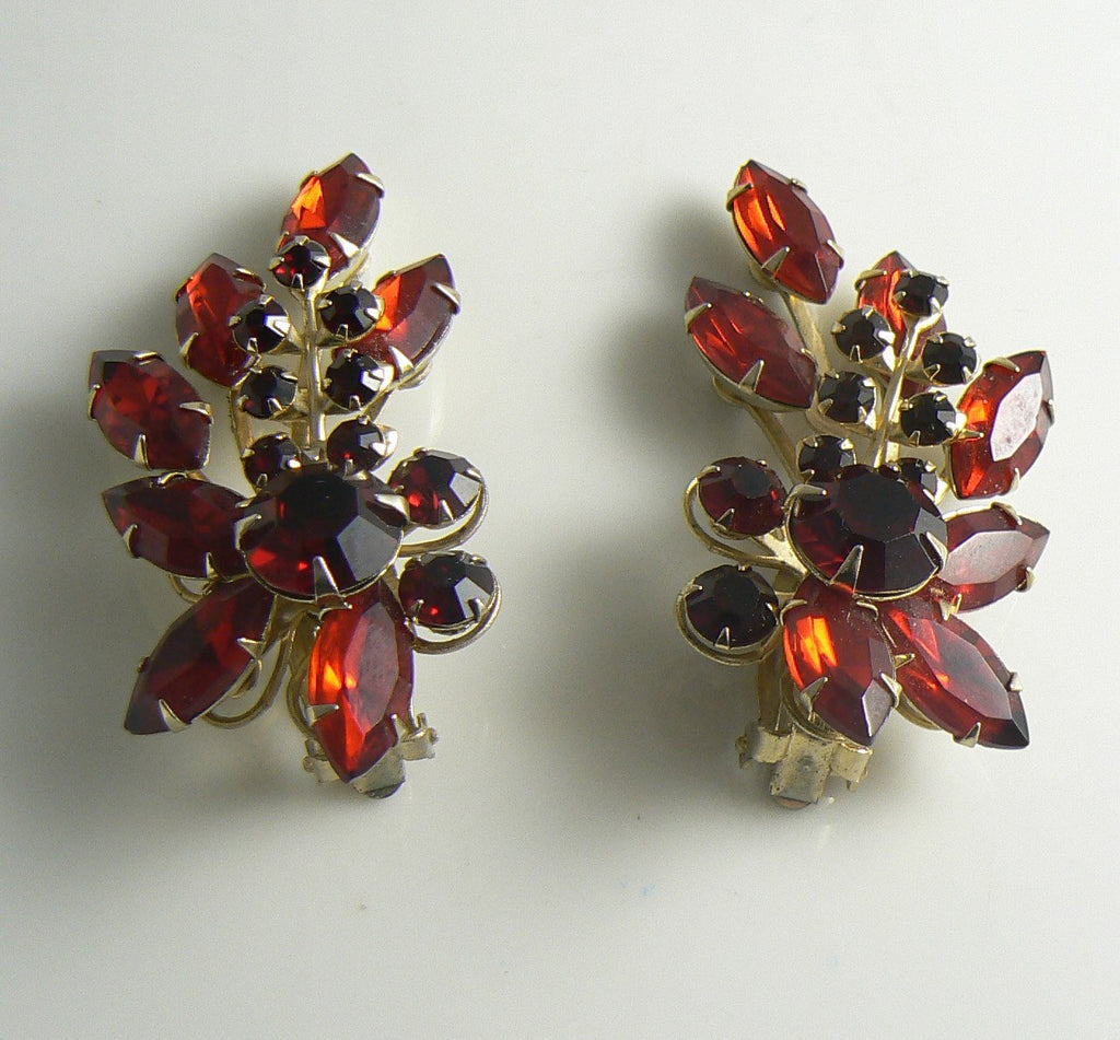 Ruby Red Rhinestone Climber Clip Earrings, Large Red Earrings - Vintage Lane Jewelry