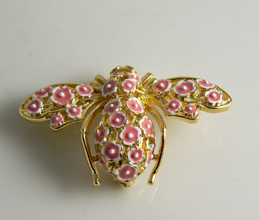 Joan Rivers Cherry Blossom Bumble Bee Brooch, Figural Pin, Large Flower Bee - Vintage Lane Jewelry