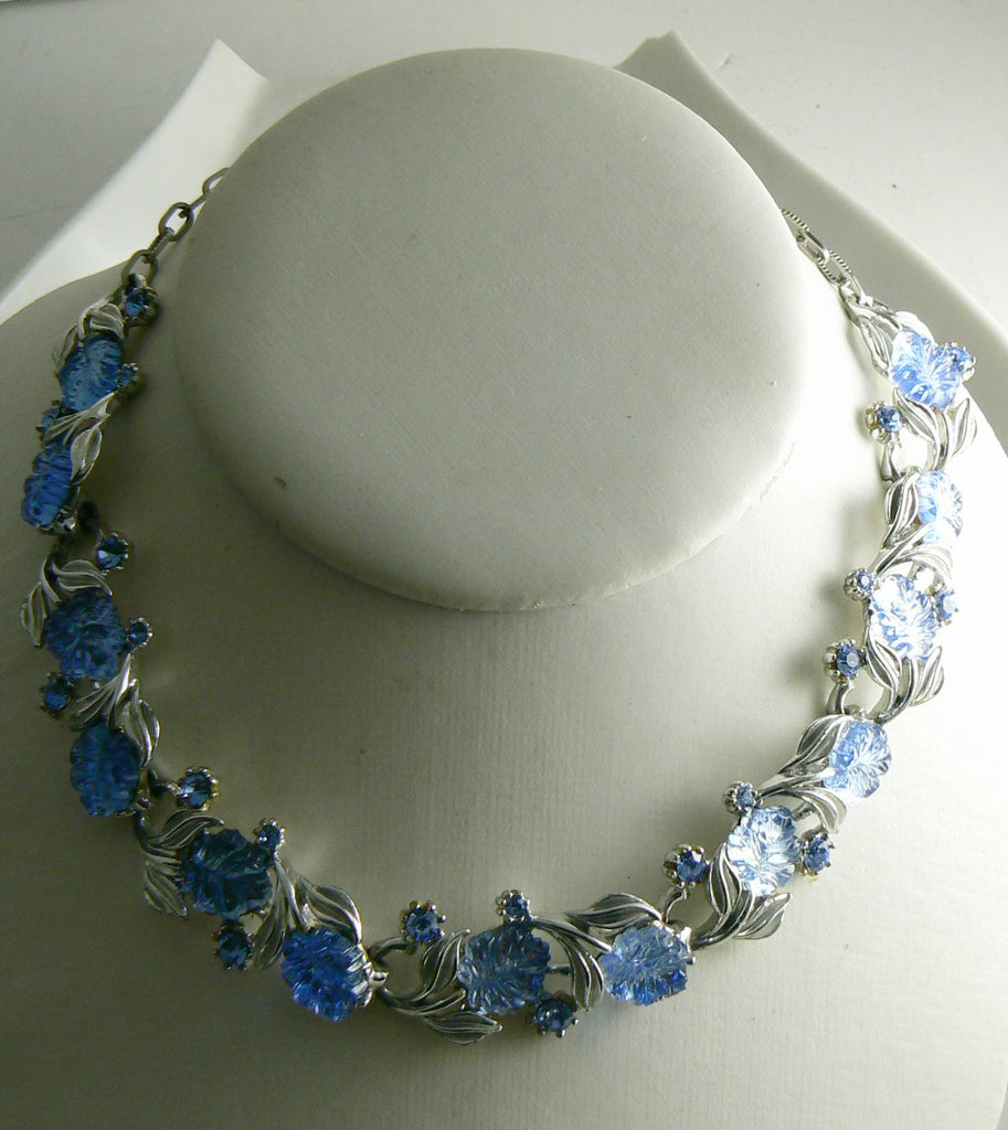 Blue Molded Glass Leaves and Rhinestone Necklace, Signed Art Necklace - Vintage Lane Jewelry