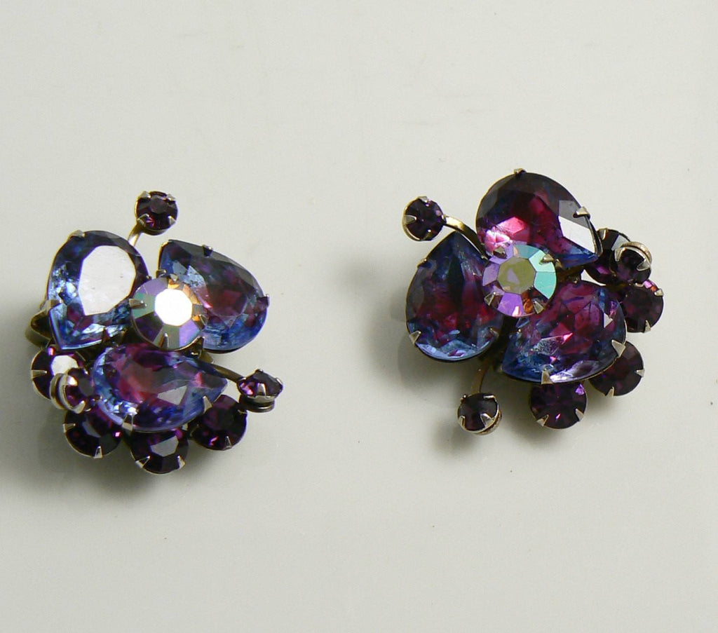 Judy Lee Purple Lavender Givre Glass Clip Earrings - Vintage Lane Jewelry