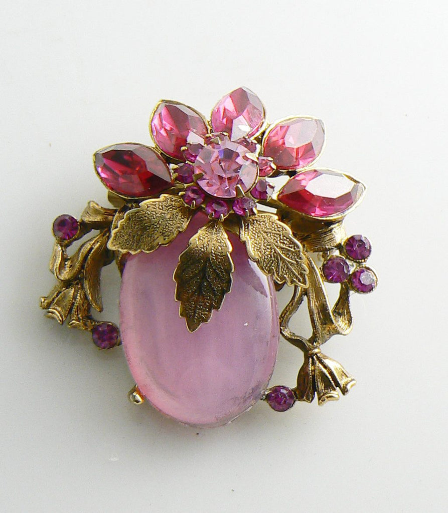 Golden Leaves, Pink Rhinestones and a Pink Glass Cabochon. Large Flower pin - Vintage Lane Jewelry