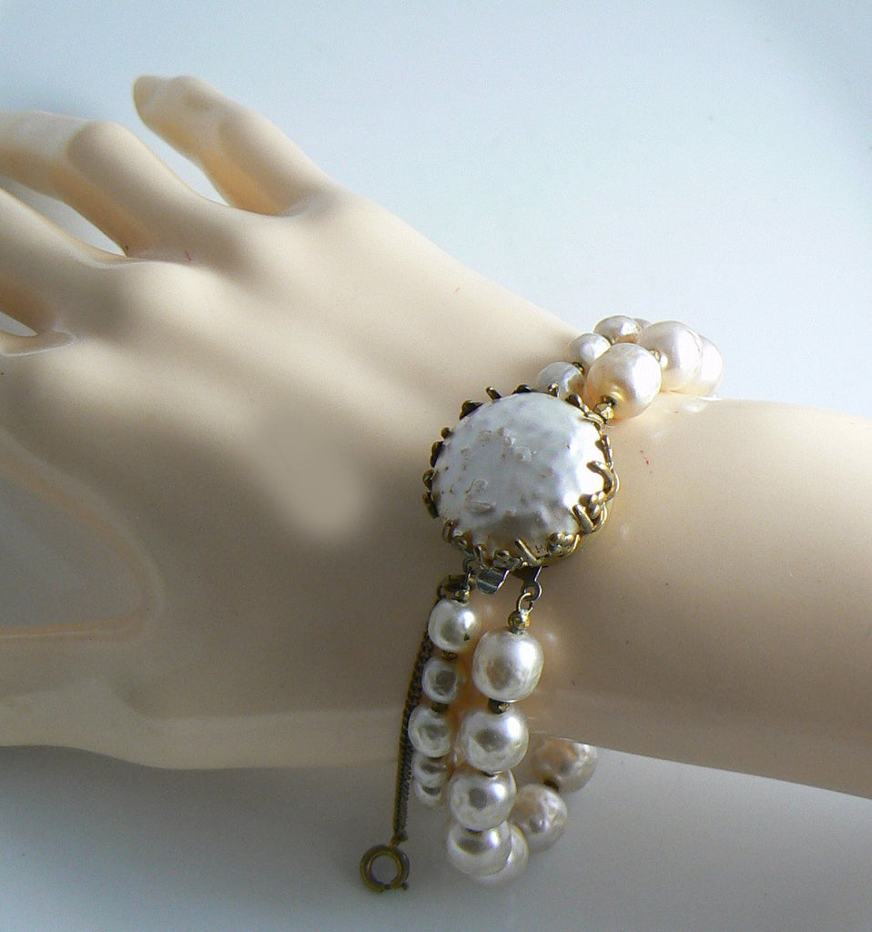 Classic Miriam Haskell Baroque Pearl Cabochon Bracelet and Earring Set - Vintage Lane Jewelry