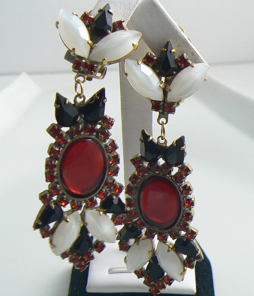 Red, Black and White Czech Glass Clip Earrings, Rhinestones - Vintage Lane Jewelry