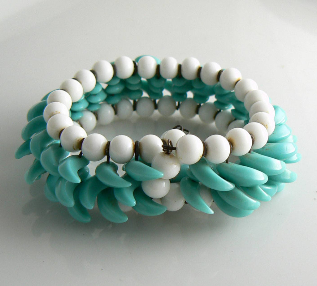 Vintage Early Miriam Haskell White and Turquoise Bead Wrap Around Bracelet - Vintage Lane Jewelry