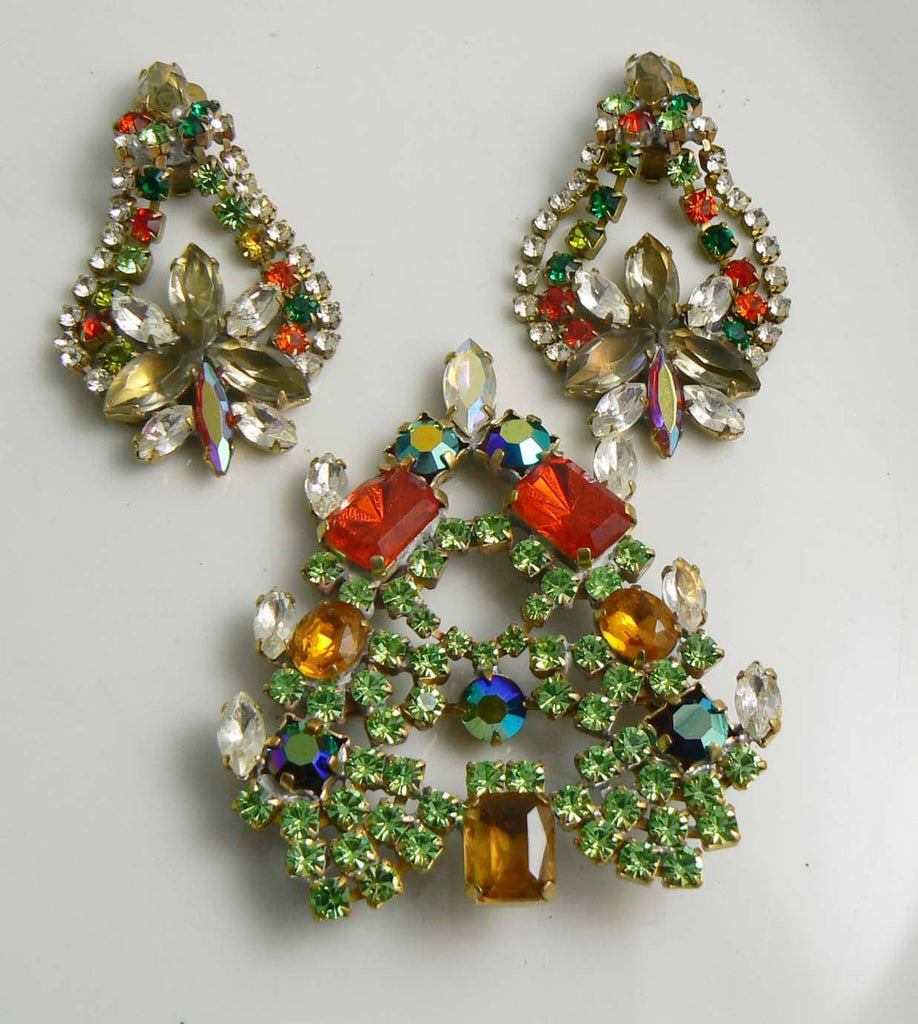 Czech Glass Christmas Tree Pin and clip Earrings Set - Vintage Lane Jewelry