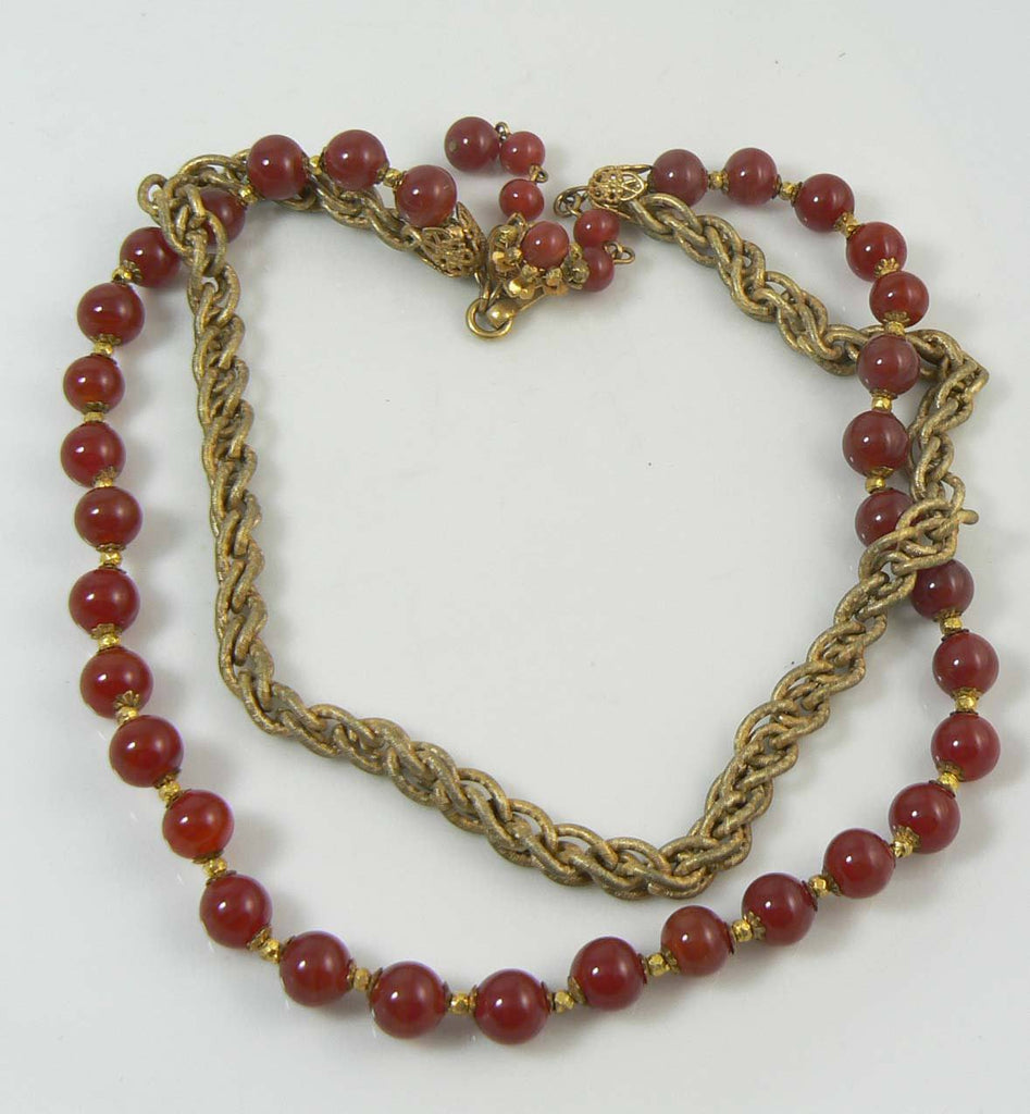 Miriam Haskell Carnelian Glass and Gold Gilt Chain Beaded Necklace - Vintage Lane Jewelry