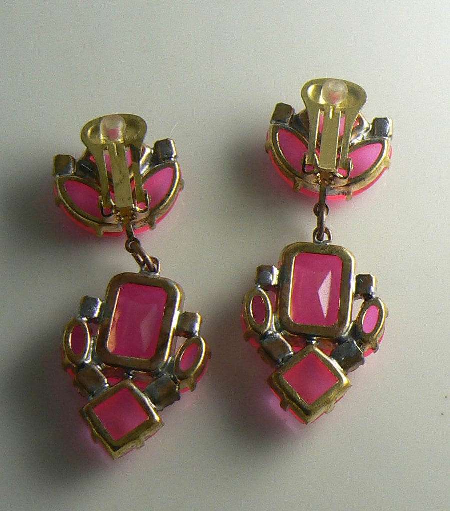 Czech Neon Pink Clip Earrings - Vintage Lane Jewelry