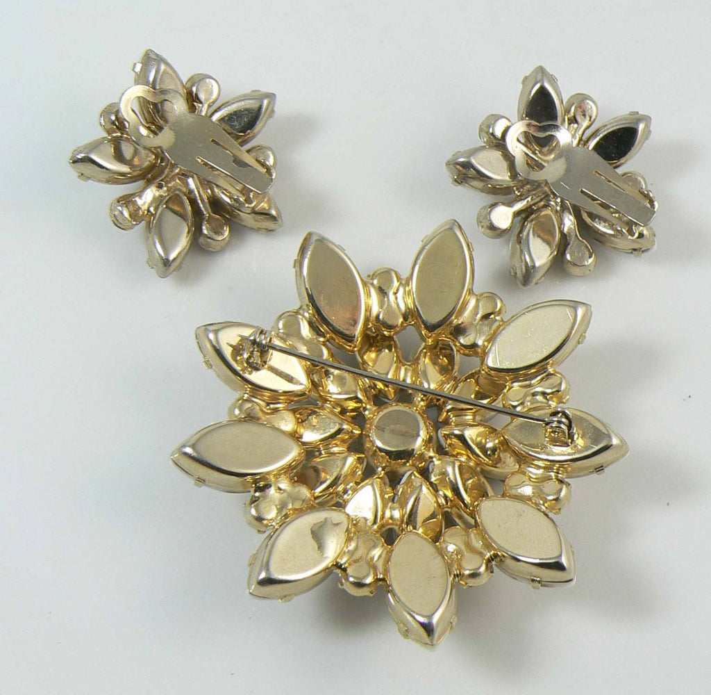 Juliana D & E Gold Fluss Topaz Rhinestone Brooch Earring Verified Book Piece Set - Vintage Lane Jewelry