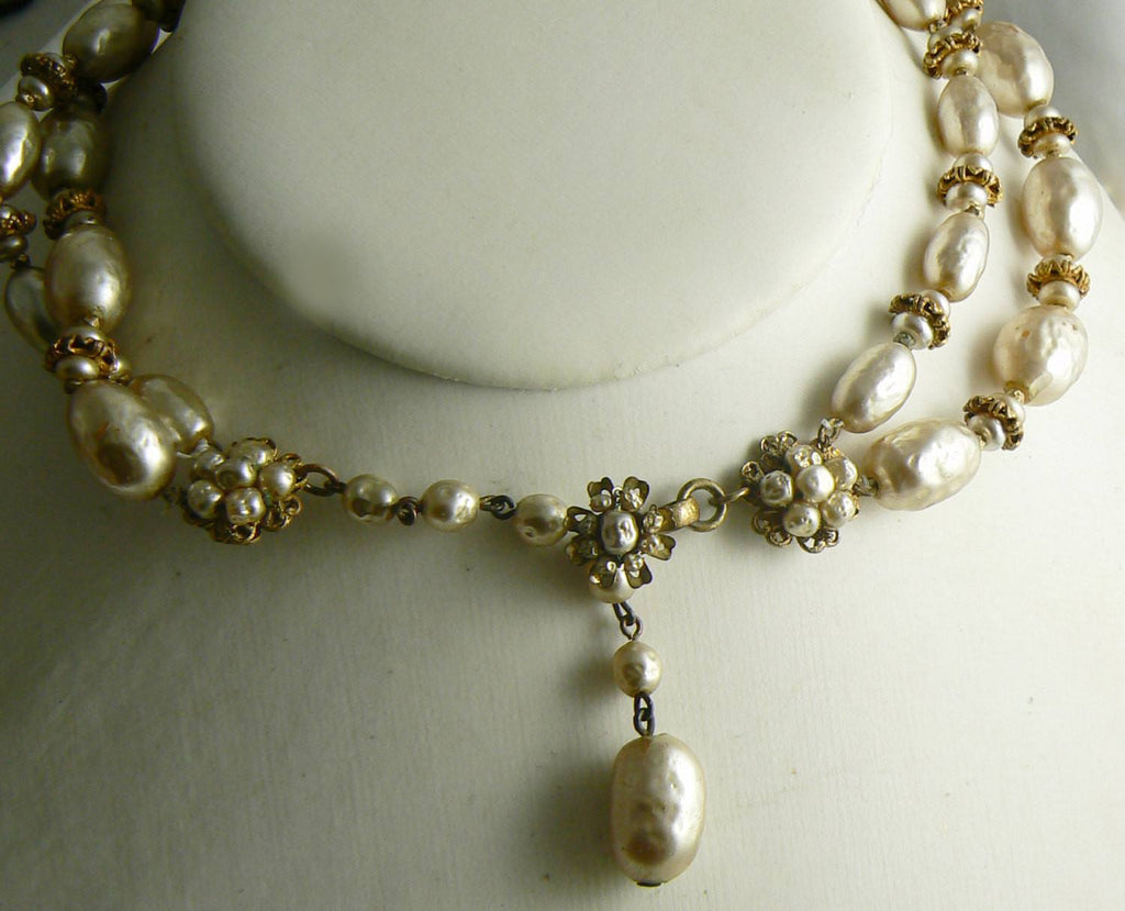 Classic Miriam Haskell Baroque Pearl and Gold Disk Necklace - Vintage Lane Jewelry