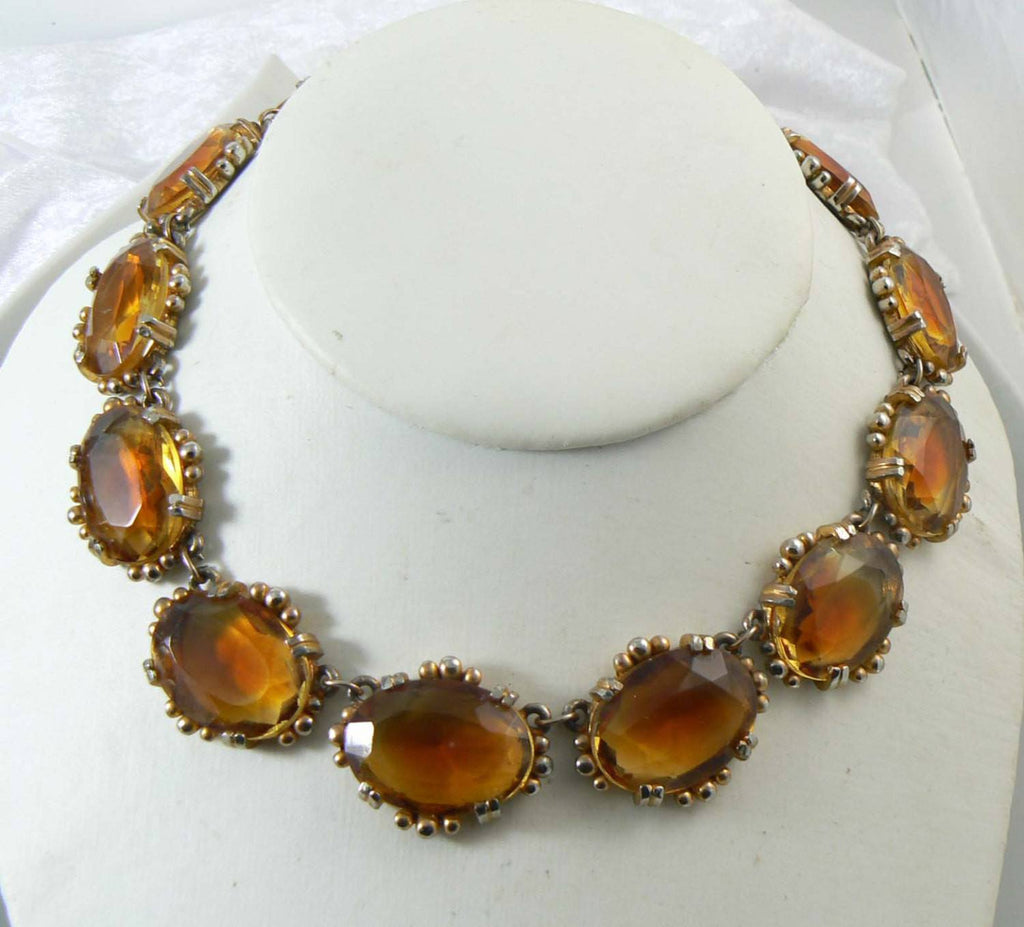 Vintage Amber Glass Open Back Necklace - Vintage Lane Jewelry