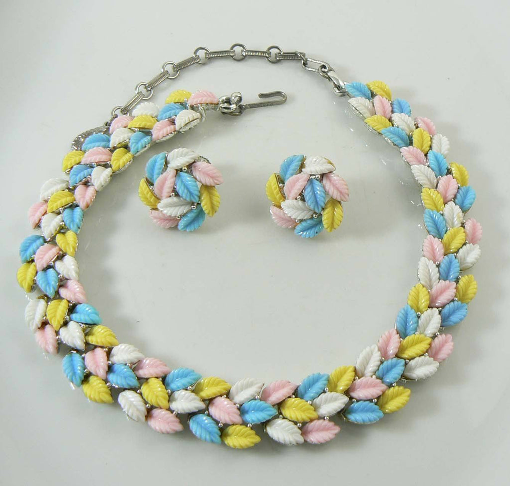 Vintage Lisner Pastel Colored Molded Leaf Necklace and Clip Earrings - Vintage Lane Jewelry
