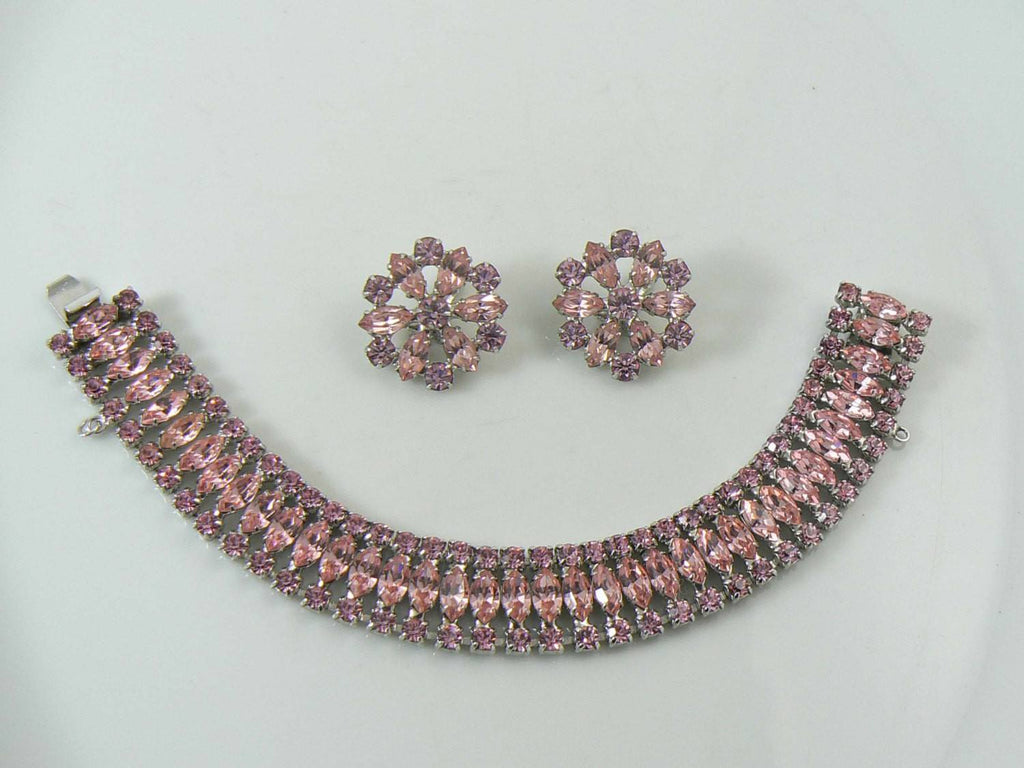Vintage B David Pink Rhinestone Bracelet Clip Earrings Set - Vintage Lane Jewelry