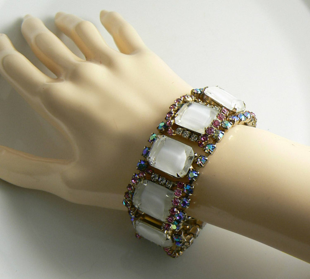 Vintage Hobe Ice Mirror Rhinestone Art Glass Set, Bracelet and Clip Earrings - Vintage Lane Jewelry