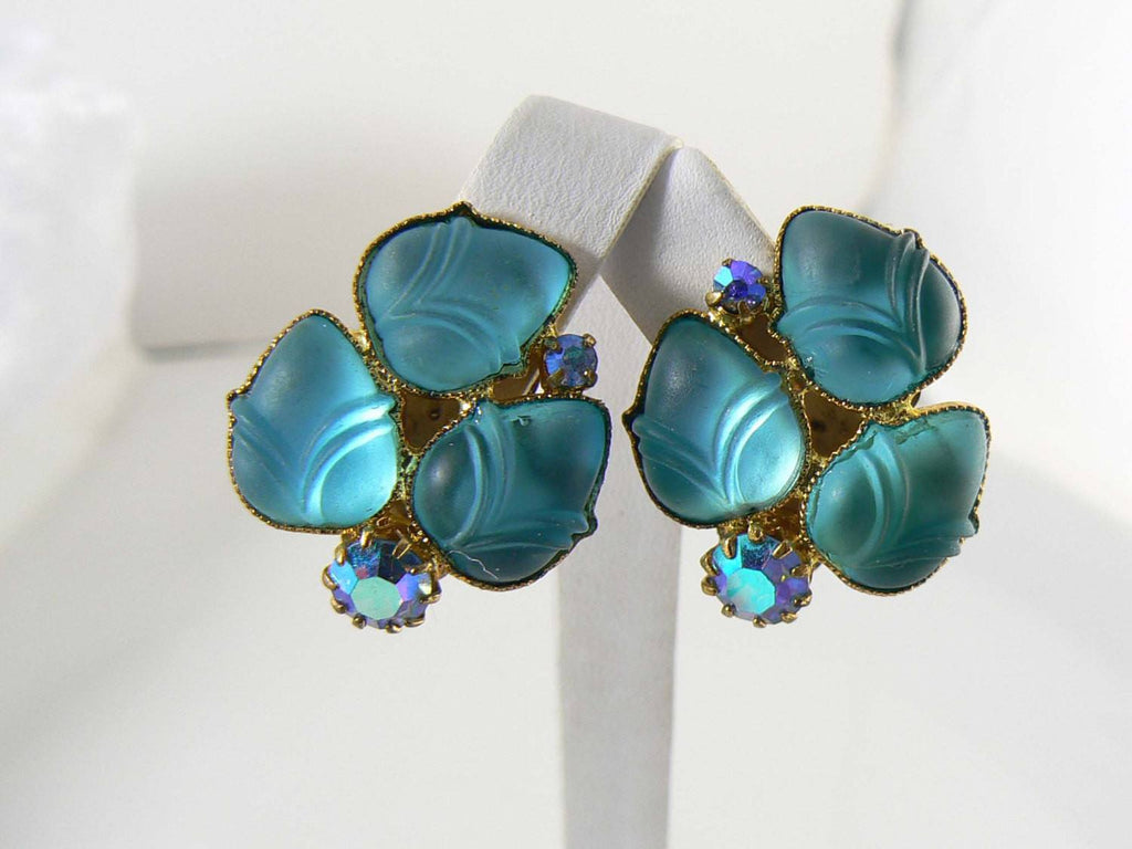 Aqua Molded Glass and AB Rhinestone Clip Earrings. - Vintage Lane Jewelry