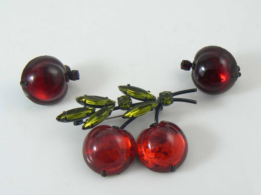 Red Cherries Brooch -Austrian Crystal Fruit Pin Earrings & Green Rhinestones - Vintage Lane Jewelry