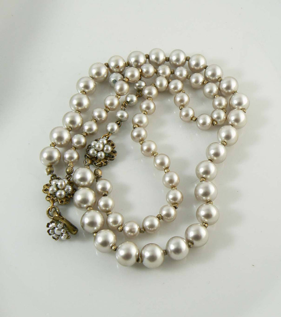 Vintage Miriam Haskell Double Strand Glass Pearl Necklace - Vintage Lane Jewelry