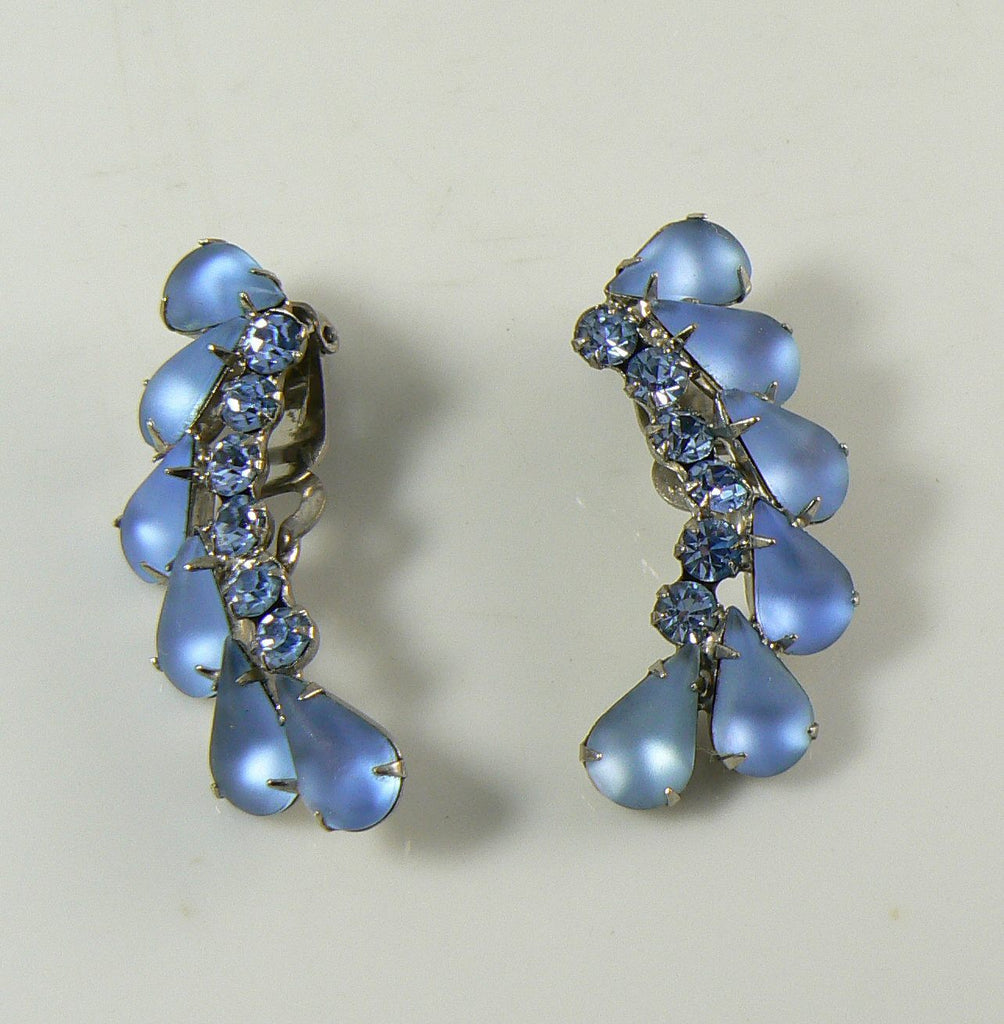 Juliana D&E Frosted Blue Glass Rhinestone Clip Earrings - Vintage Lane Jewelry