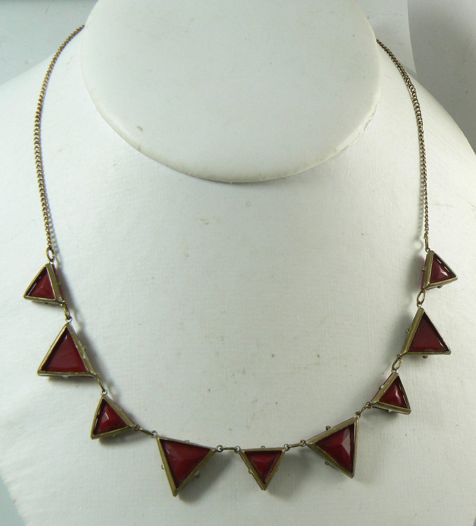 Art Deco Gold Filled Molded Red Vauxhall Glass Necklace - Vintage Lane Jewelry