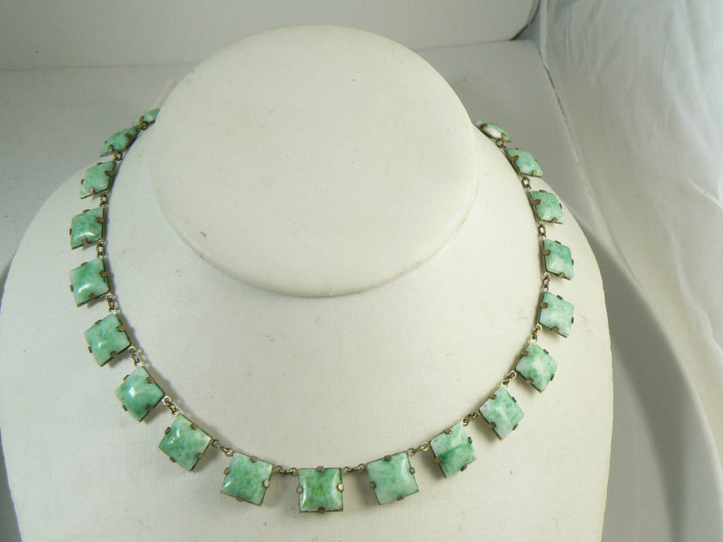 Vintage Art Deco Peking Glass Collar Necklace - Vintage Lane Jewelry