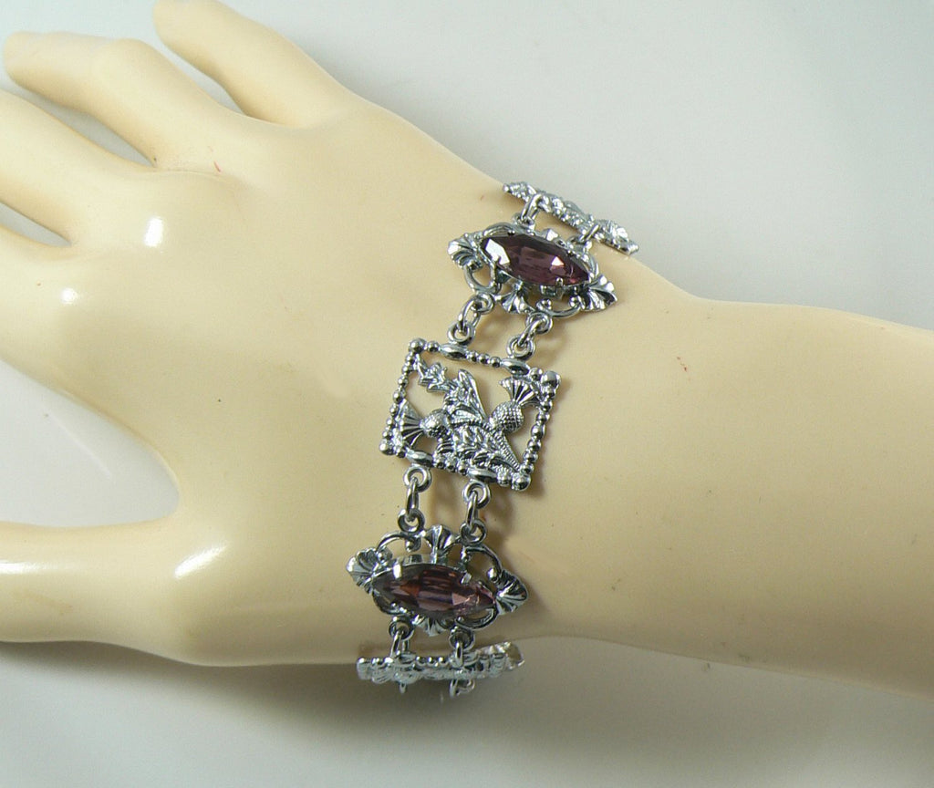 Vintage Mizpah Scottish Thistles Pink Glass Rhodium Plated Bracelet - Vintage Lane Jewelry