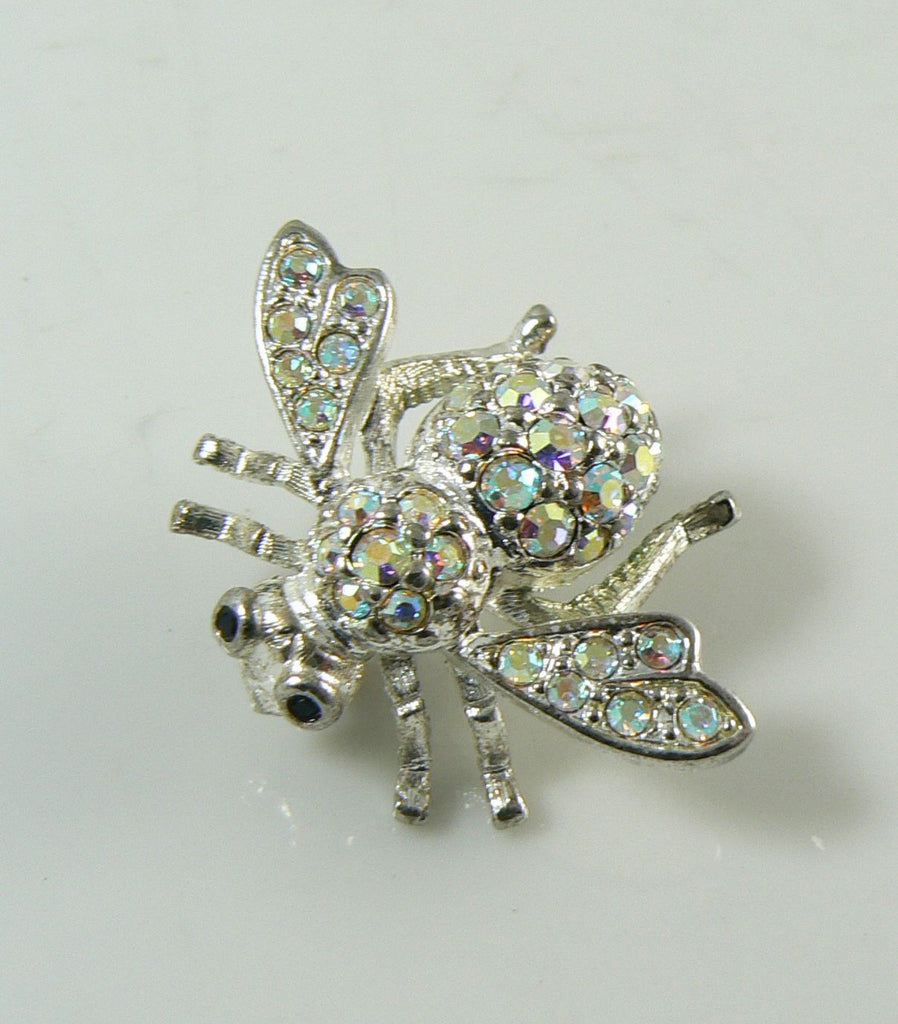 Classic Joan Rivers Sparkling Aurora Borealis Bee Brooch/Pin - Vintage Lane Jewelry