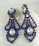 Beautiful Taboo Czech Glass Cobalt Blue Rhinestone Necklace Earring Set - Vintage Lane Jewelry