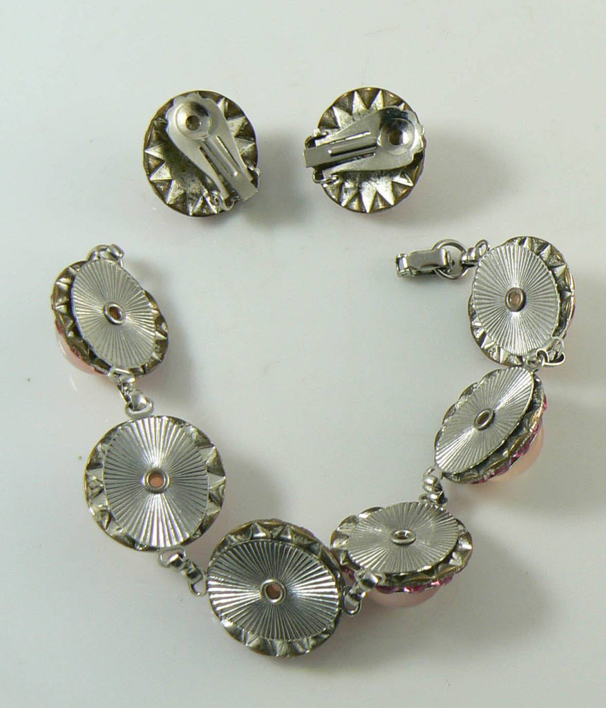 Pink Rhinestones and Moonstone Cabochons Bracelet and Clip Earrings - Vintage Lane Jewelry