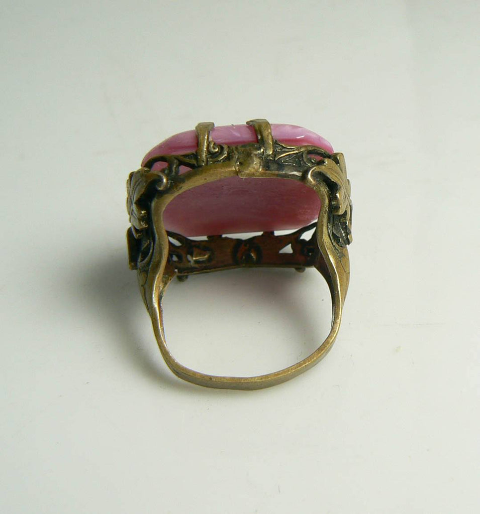 Art Deco Czech Glass Pink Large Cocktail Ring - Vintage Lane Jewelry