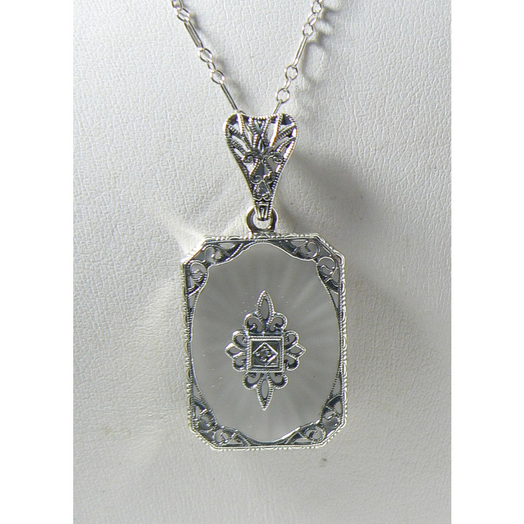 Camphor Glass Filigree Diamond Sterling Silver Necklace - Vintage Lane Jewelry