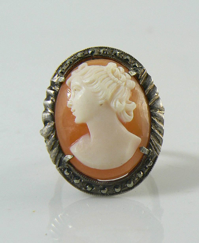 Vintage Carved Shell Cameo Marcasite Sterling Silver Ring - Vintage Lane Jewelry