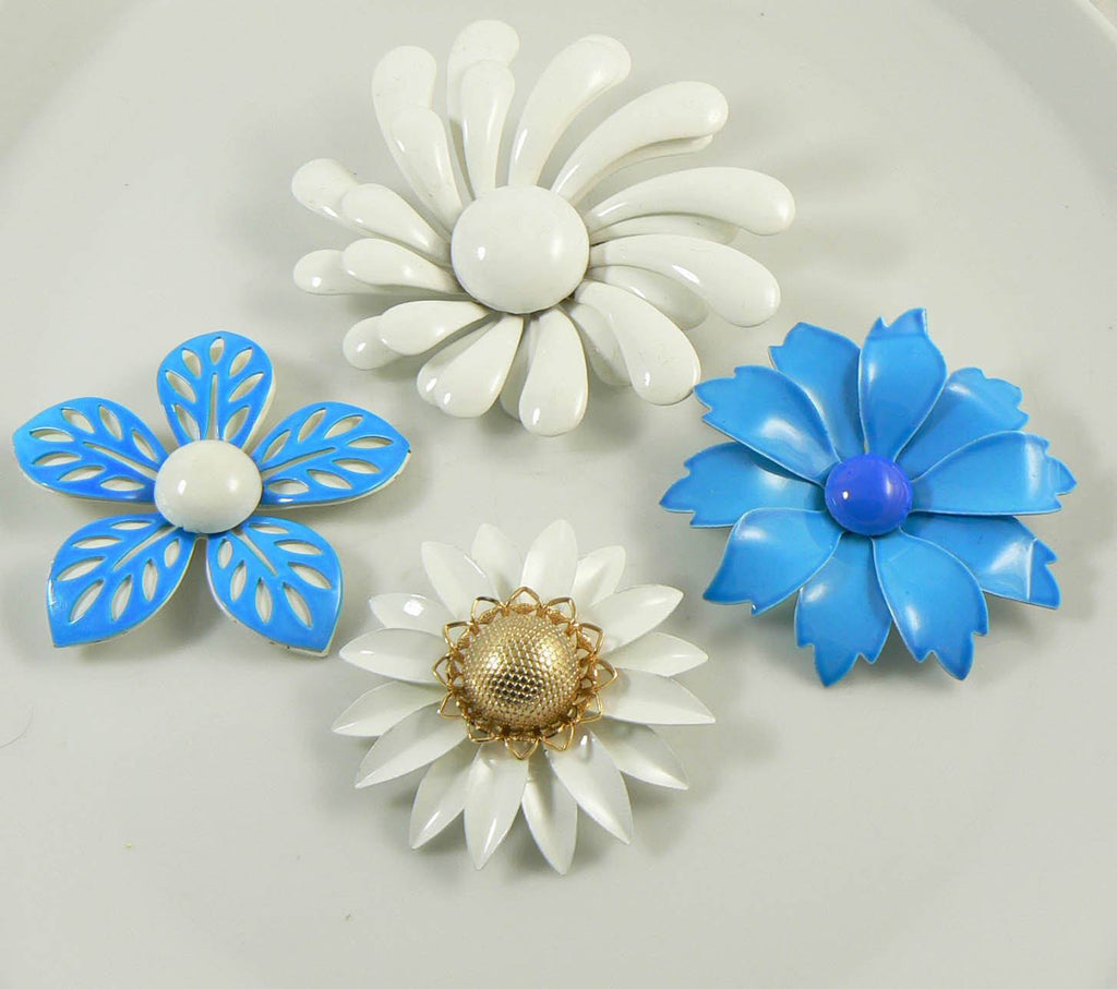 Enamel Flower Pins Shades of Blue and White Lot - Vintage Lane Jewelry