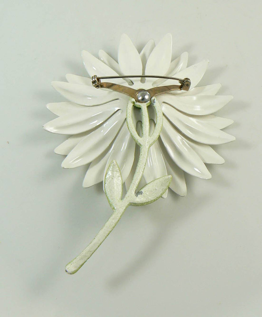 Daisy Huge White Enamel Flower Pin - Vintage Lane Jewelry
