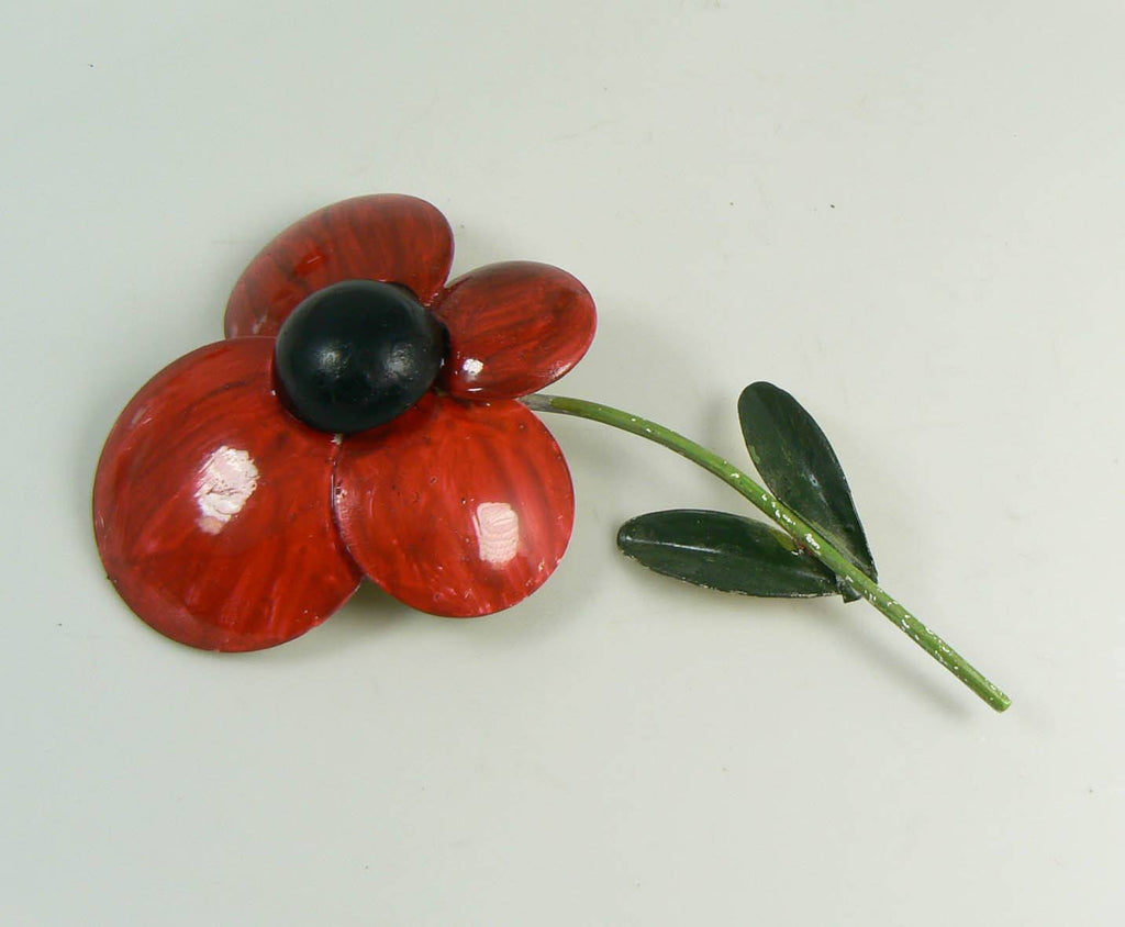 Large Enamel Flower Lot, Oranges, Reds, Black and Gray - Vintage Lane Jewelry