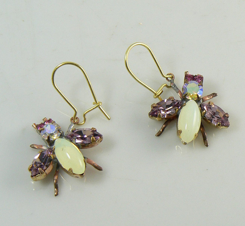 Czech Glass Rhinestone Fly Earrings, Lavender - Vintage Lane Jewelry