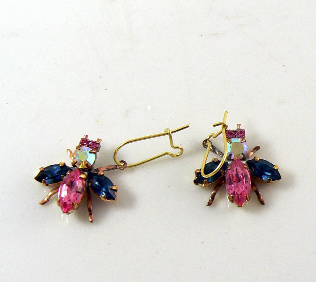 Czech Glass Rhinestone Fly Earrings, pink, blue - Vintage Lane Jewelry