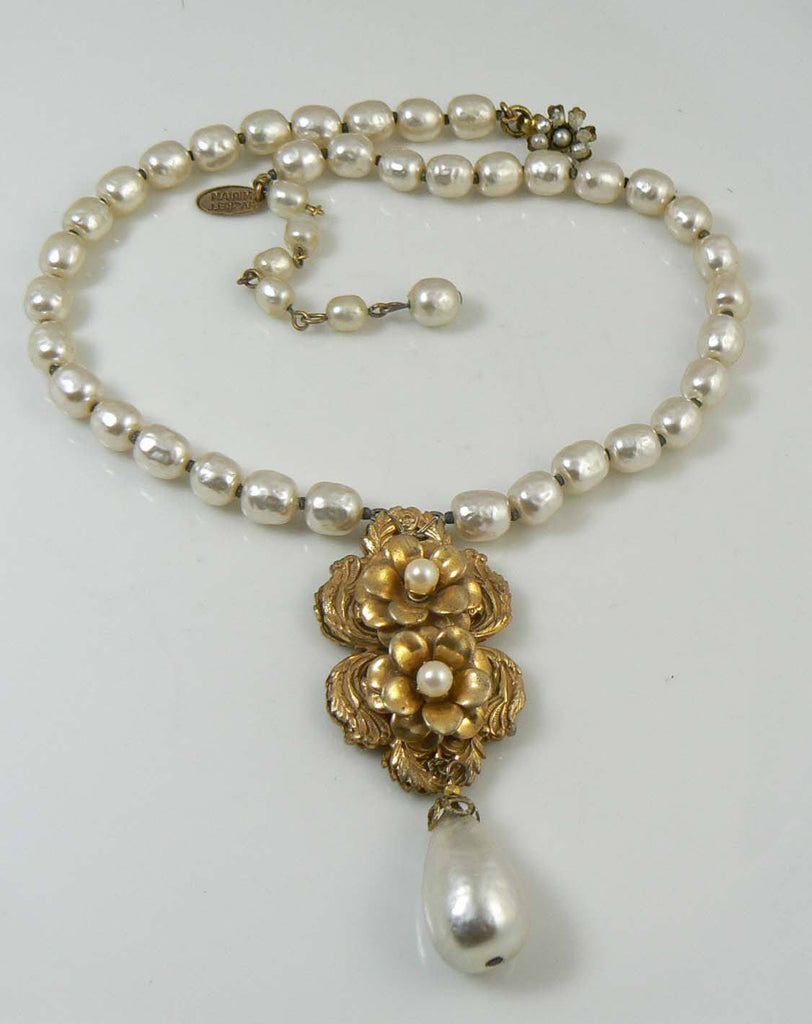 Miriam Haskell Baroque Pearl and Russian Gold Floral Necklace - Vintage Lane Jewelry