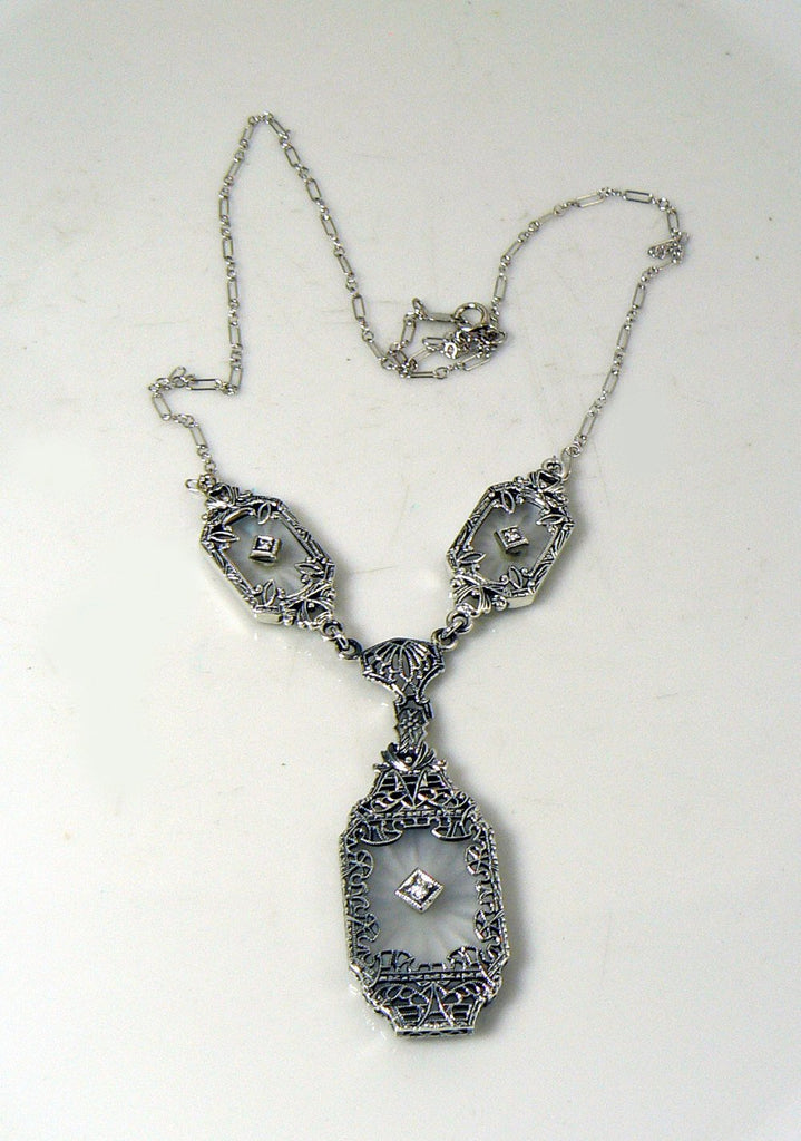 Art Deco Camphor Glass 3 Diamond Filigree Sterling Silver Necklace - Vintage Lane Jewelry