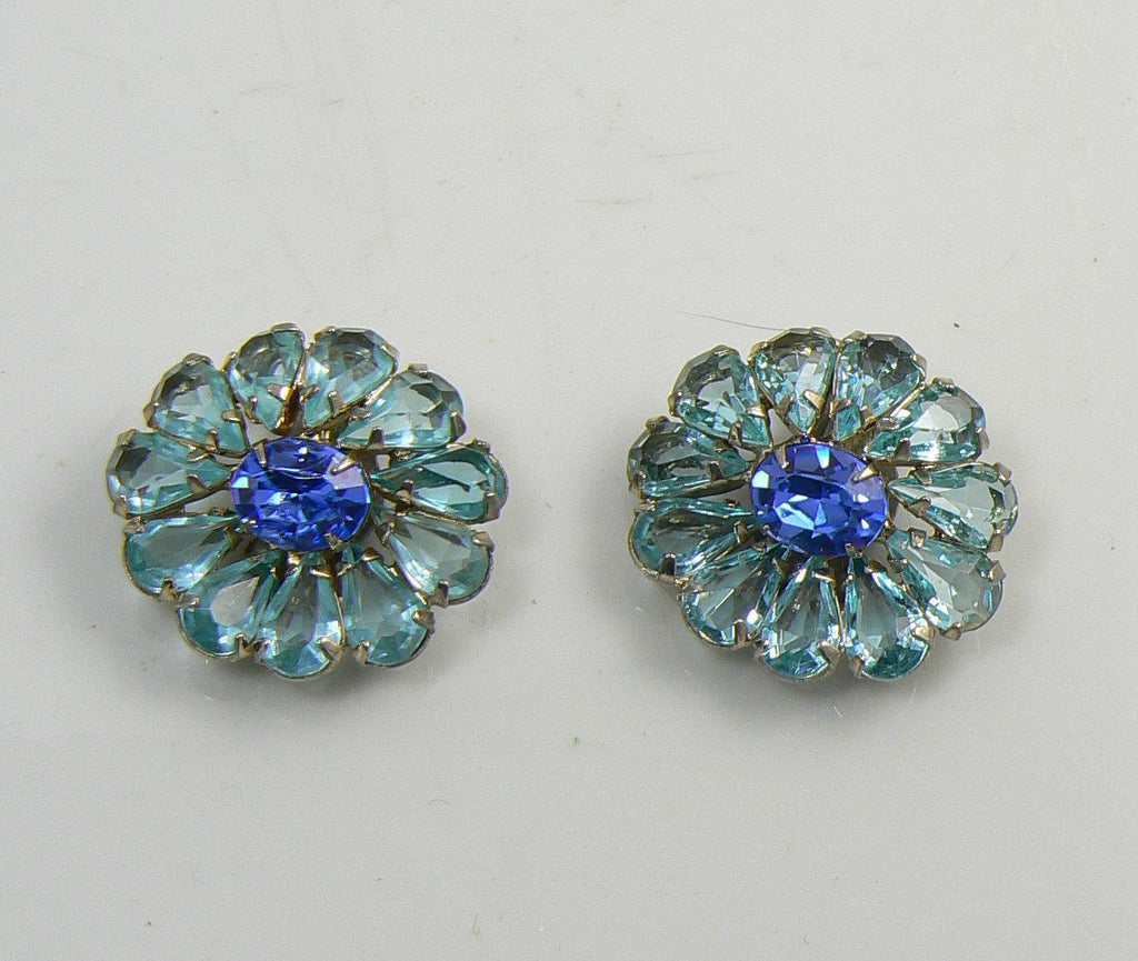 Vintage Weiss Blue Rhinestone Flower Clip Earrings - Vintage Lane Jewelry