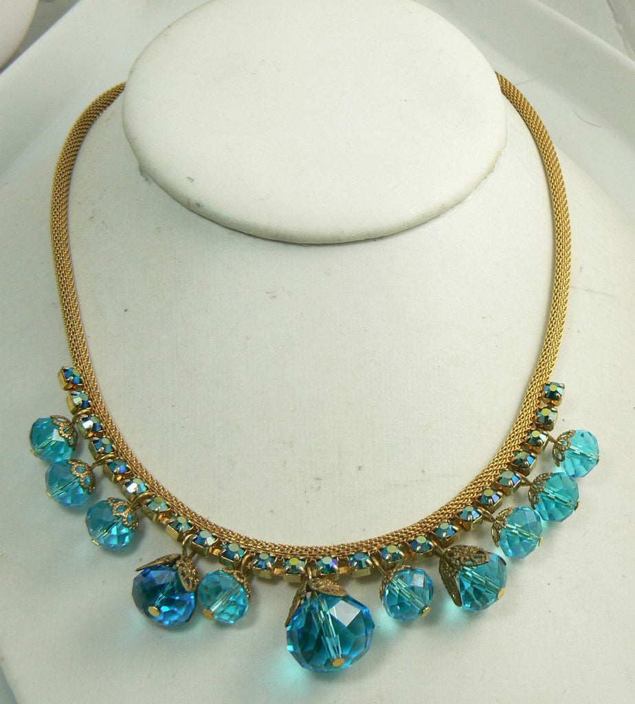 Vintage Juliana Aqua Blue Borealis Rhinestone and Dangling Glass Beads Necklace - Vintage Lane Jewelry