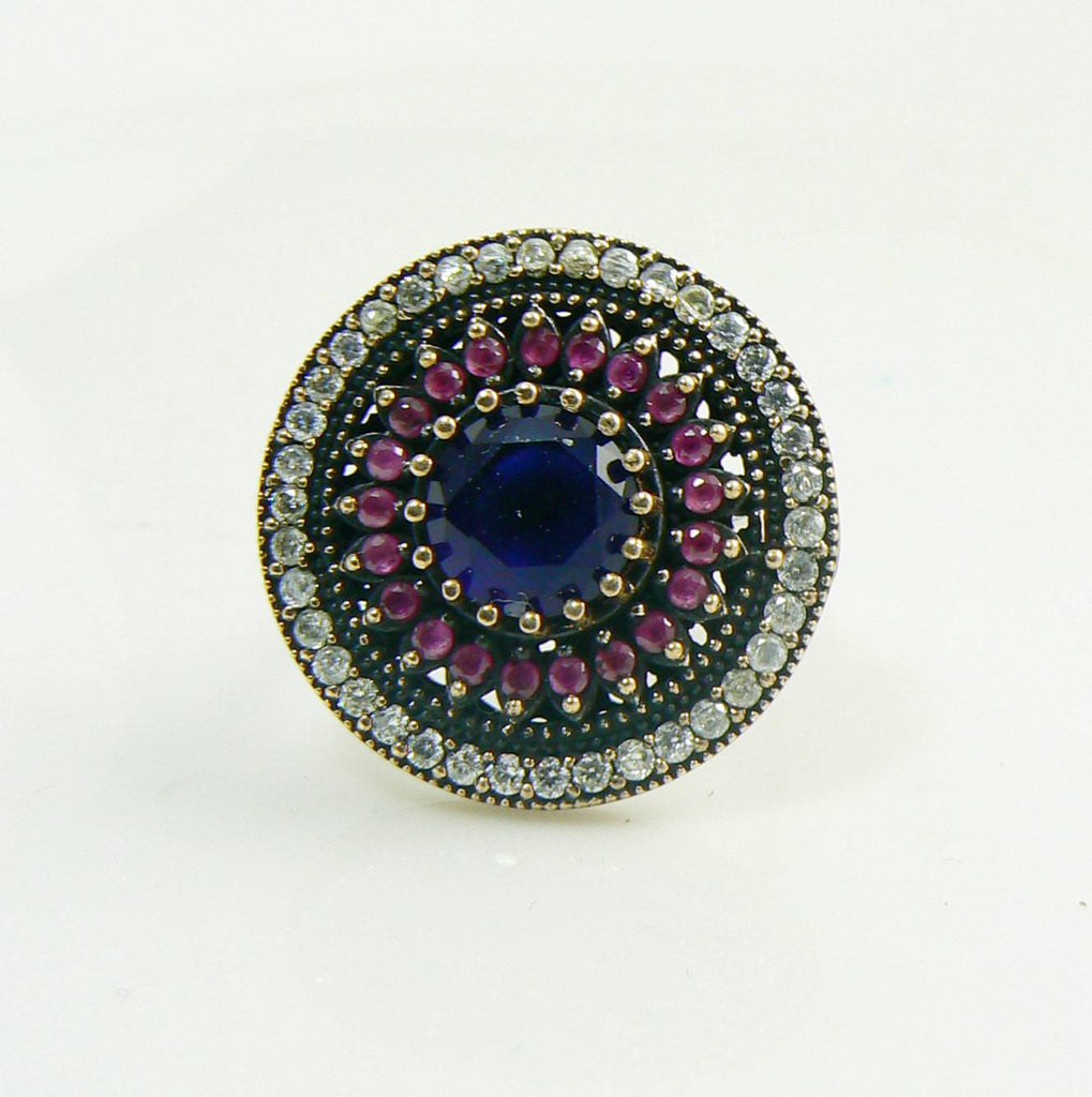 Turkish Ruby, Sapphire and Topaz Sterling Silver Ring - Vintage Lane Jewelry