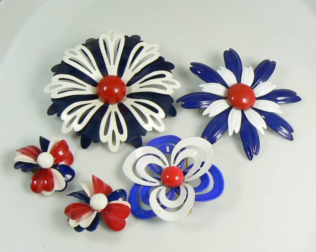 Red, white and blue Enamel Flower Pin Lot and Clip Earrings - Vintage Lane Jewelry