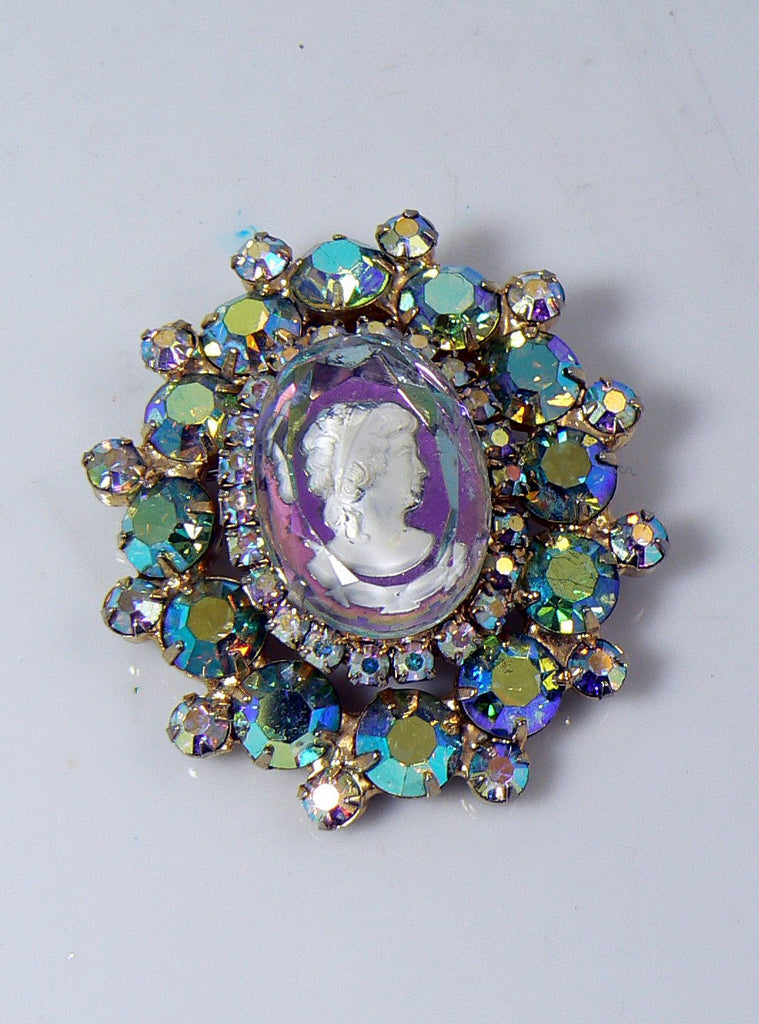 Vintage Juliana (D&E) Book Piece AB Rhinestone Glass Intaglio Cameo Brooch - Vintage Lane Jewelry